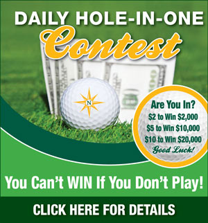 Graphic promoting Northdale Golf & Tennis Club Daily Hole-in-One contest